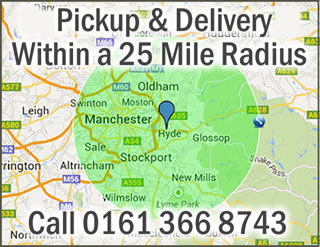 Pickup and delivery within 25 mile radius